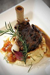 ... mashed potato and the sauce from the lamb shanks roasting or BBQ dish