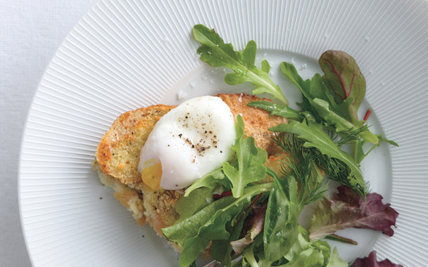 Parmesan Baguette With Poached Egg And Greens