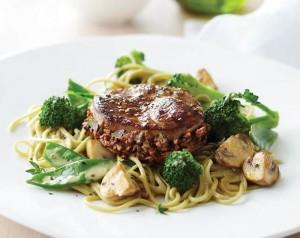 Lamb-Steaks-with-Mushroom-Stuffing,-Wok-Vegetables-&-Green-Tea-Noodles