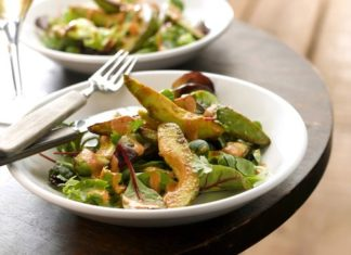 Warm Avocado with Dressing Salad Healthy food ideas