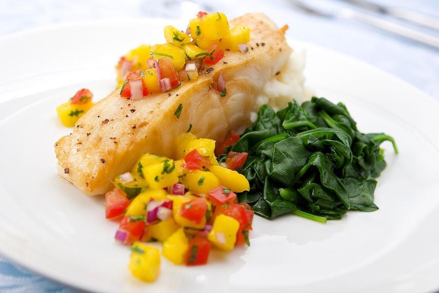 Grilled Halibut with Peach Salsa - Fresh Ideas