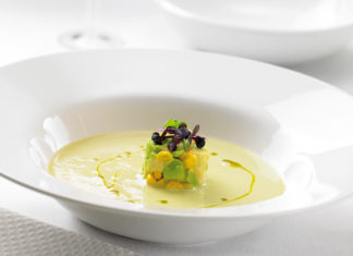 Fresh Ideas Green Tomato Gazpacho with Smoked Corn, Avocado and Shiso HR