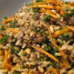 Brown rice , lentil, carrot and parsley salad close up