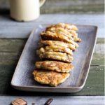 Mussel Fritters on rectangle plate