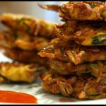 Stack of zucchini fritters.