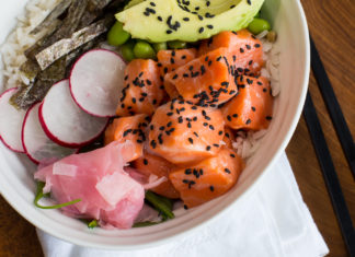Easy to make salmon poke bowl with ginger, radish, and avocado
