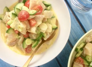 Tahitian Raw Fish with coconut milk, lime and fresh vegetables