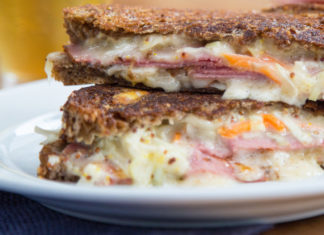 Fresh Reuben Sandwich with melted cheese