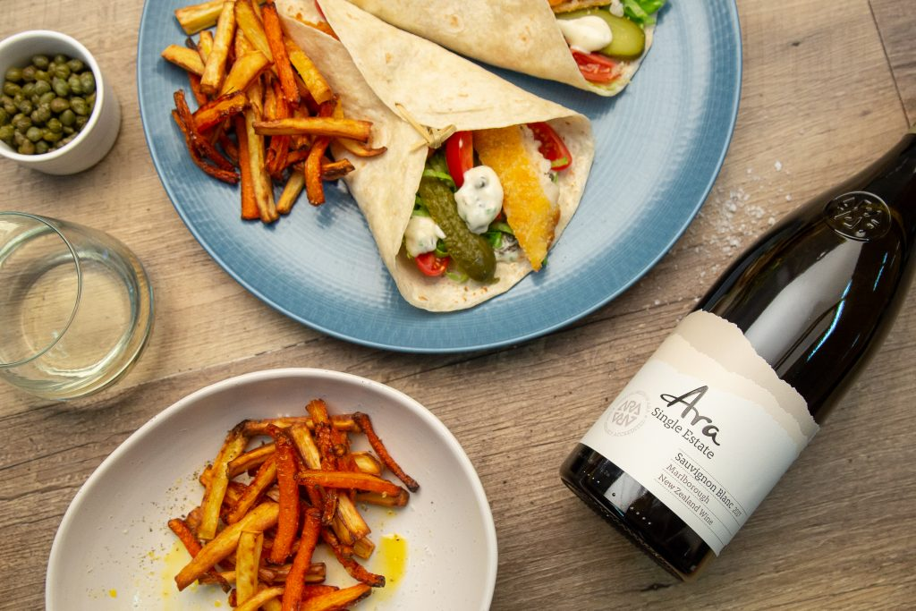 Crumbed Fish Wraps with Capers and Vege Chips