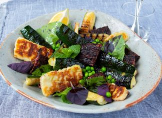 Grilled Courgette, Beet Burger & Haloumi Salad