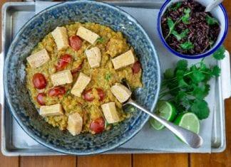 Spiced Dal, Coriander Rice & Tofu Puffs