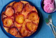 Caramelised Upside Down Plum & Orange Cake