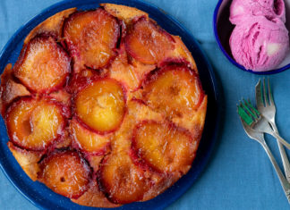 Caramelised Upside Down Plum & Orange Cake