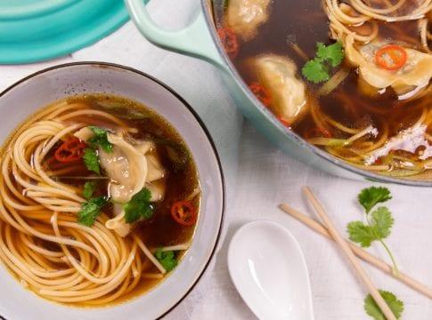 Spicy Bone Broth & Shiitake Dumpling Noodle Soup