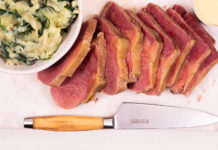 Slices of freshly cooked corned beef