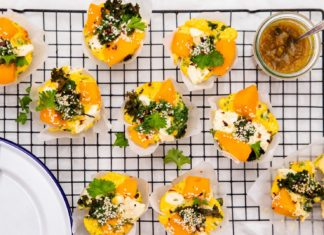 Butternut, Kale & Feta Frittatas on a mesh cooling rack