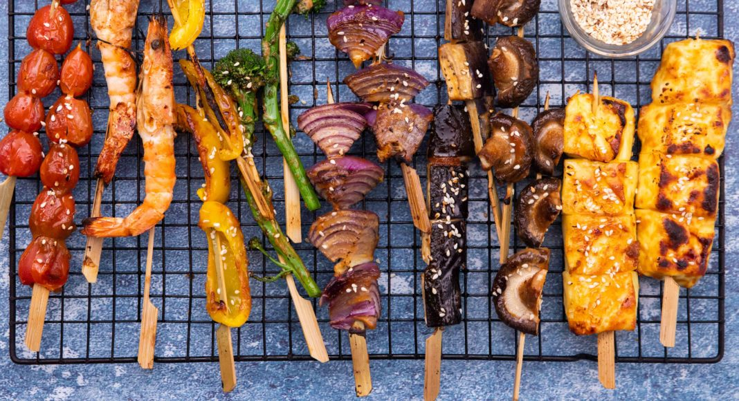 Japanese style skewers all different colours of the rainbow