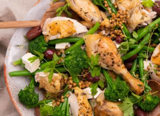 colourful Herby Lemon Roast Chicken Salad