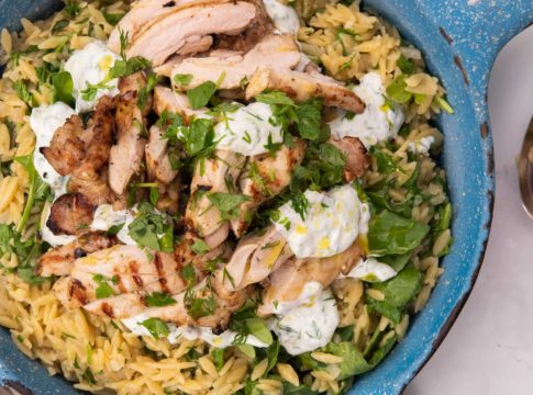 Cooked and sliced chicken pieces and drops of white sauce and scattered greens over small pasta in blue pan with a fork.