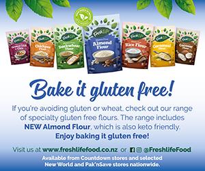Full FreshLife Gluten Free Flour range ad with a bake it gluten free slogan