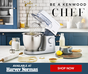 Kenwood Chef Sense mixer on a kitchen bench with baking ingredients and be a Kenwood chef slogan