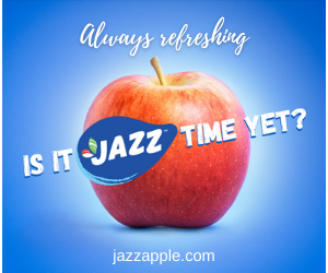 Jazz apple on a blue background with Is it Jazz time yet? slogan